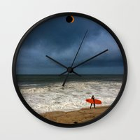surfboard Wall Clocks featuring Orange Surfboard by PACIFIC OBLIVION