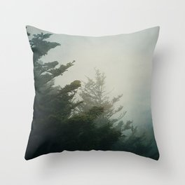 Foggy Pine Trees Throw Pillow