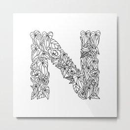 Floral Type - Letter N Metal Print