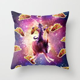 Warrior Space Cat On Wolf Unicorn - Taco Throw Pillow