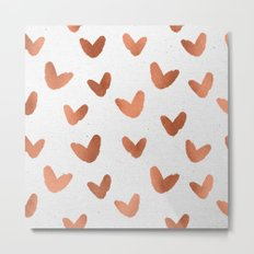 Valentines Day Rose Gold Hearts - Pink Love Pattern Metal Print