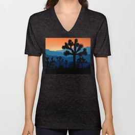Retro Joshua Tree National Park Desert Hiking Camping Cactus Unisex V-Neck