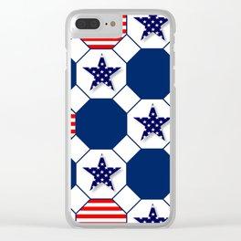 Nautical Patriotic Hexagons Clear iPhone Case