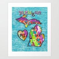 michigan Art Prints featuring Michigan by Wendy High Studios