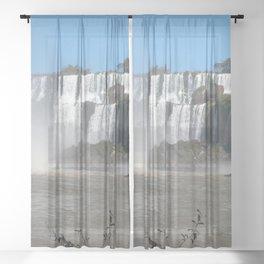 Iguazu Iguassu Waterfall Landscape Panorama Scenery, Brazil Argentina 9 Sheer Curtain