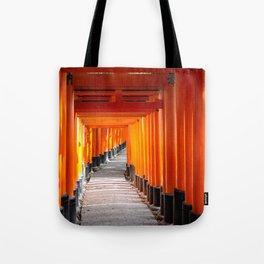 Torii gates of the Fushimi Inari Shrine in Kyoto, Japan Tote Bag