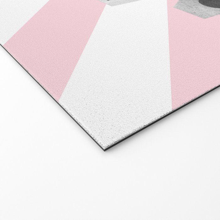 Hey! Pink and white stripes Welcome Mat