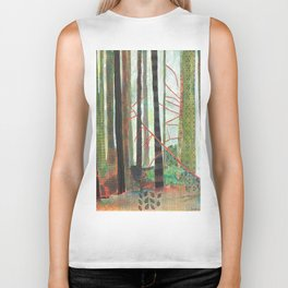 Embroidered Forest Biker Tank