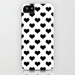 White Black Hearts Minimalist iPhone Case