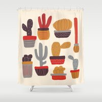 alisa burke Shower Curtains featuring Kaktus by Annisa Tiara Utami