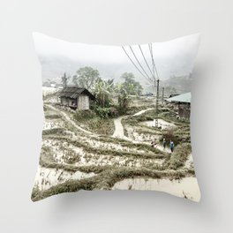 Beautiful foggy SaPa Vietnam rice fields cold winter Throw Pillow