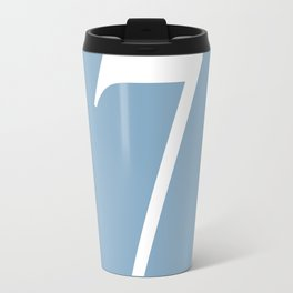 number seven sign on placid blue color background Travel Mug
