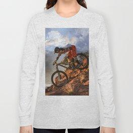 Mountain Bike in Rugged Mountain Terrain in Sunbeams Long Sleeve T-shirt