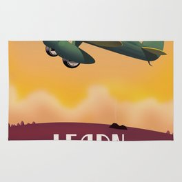 Learn To Fly, vintage flight travel poster Rug