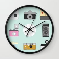 cameras Wall Clocks featuring cameras by Sarah Turbin