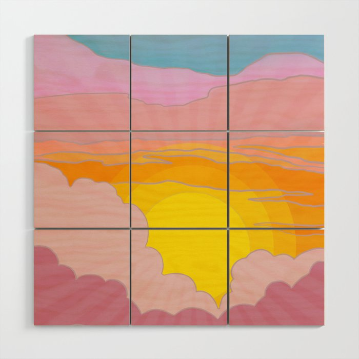 Sixties Inspired Psychedelic Sunrise Surprise Wood Wall Art