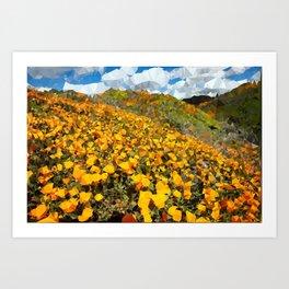 California Poppies Low Poly Geometric Triangles Art Print