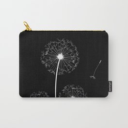 Dandelion Three White on Black Background Carry-All Pouch