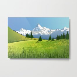 Countryside Landscape With Mountains Metal Print