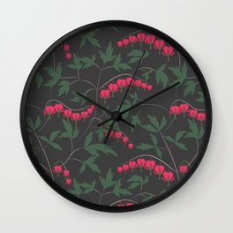 Retro. Floral pattern on a grey background . Wall Clock