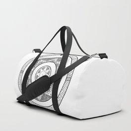 Flower Star Mandala - White Black Duffle Bag