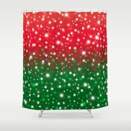 Christmas Variegated Red and Green Star Glow Shower Curtain
