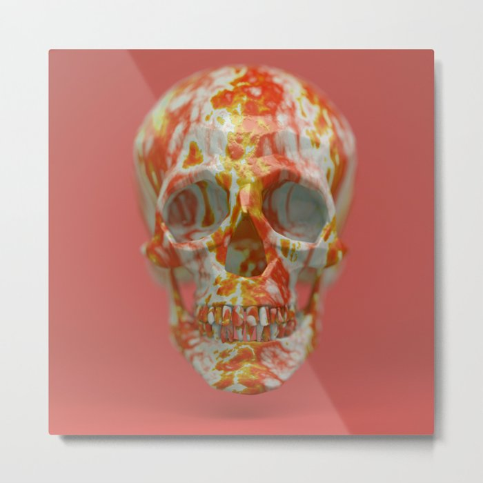 Red Candy Skull Metal Print