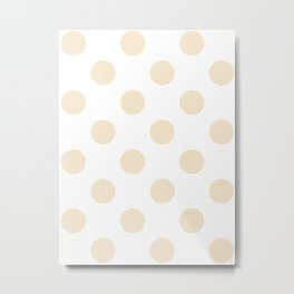 Large Polka Dots - Champagne Orange on White Metal Print