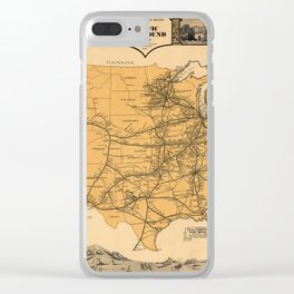 Greyhound Bus Line Map 1935 Clear iPhone Case