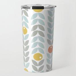 Mid Century Modern Retro Leaf and Circle Pattern Travel Mug