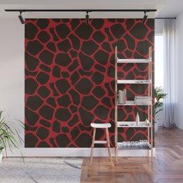 Metallic Red Black Leopard Print Animal Skin Patterns Wall Mural