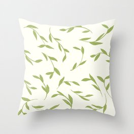 Green leaves on cream Throw Pillow