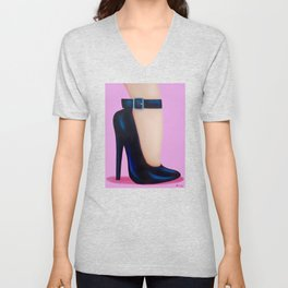 Pink Lady With Stiletto Heels Unisex V-Neck
