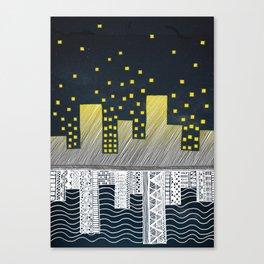 Lake City and Stars Canvas Print