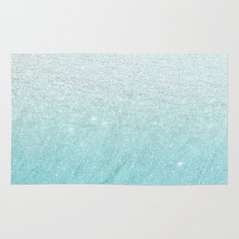 Modern chic teal pastel gradient faux glitter Rug