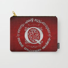 Joshua 24:15 - (Silver on Red) Monogram Q Carry-All Pouch