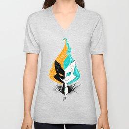 Nightmare/ScribbleNetty (Orange/Turquoise) Unisex V-Neck