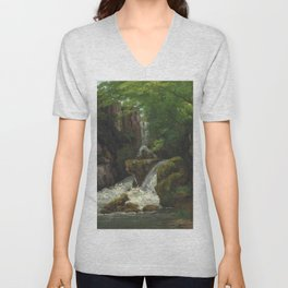 "Gustave Courbet ""Cliffs and waterfalls (Falaises et cascades)"" Unisex V-Neck"