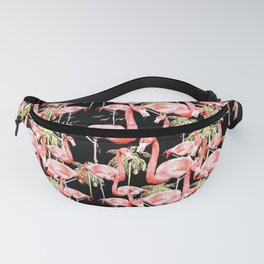 Pattern of flamingos among golden palm trees I Fanny Pack