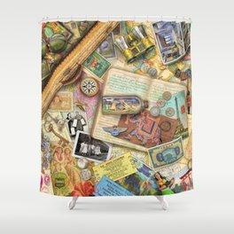 Vintage World Traveler Shower Curtain