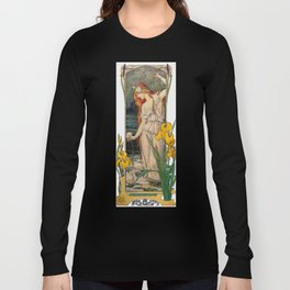 Vintage Art Nouveau Painting - Redhead with Flowers Long Sleeve T-shirt