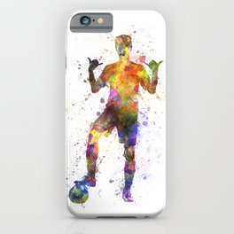 soccer football player young man saluting iPhone Case