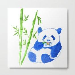 Panda eating bamboo Watercolor Print Metal Print