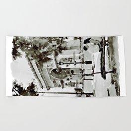 The Arc de Triomphe Paris Black and White Beach Towel