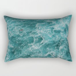 Surfer Paddling Out In The Water Rectangular Pillow