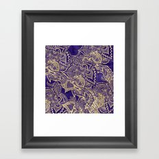 Gold hand drawn floral lace mandala on purple watercolor peacock Framed Art Print