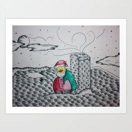 Santa Duck Art Print