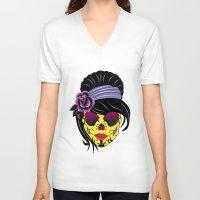 sugar skull V-neck T-shirts featuring SUGAR SKULL by mark ashkenazi