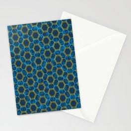Blue Yellow Honeycomb Hexagonal Pattern Stationery Cards