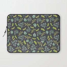Modern lime green yellow black botanical floral Laptop Sleeve
